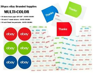 30 pcs Ebay Branded Supplies Multi Set Tissue Paper stickers thank You Postcards