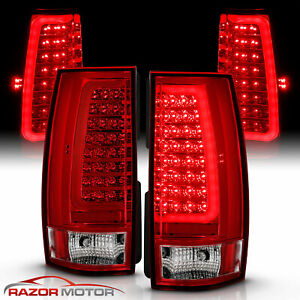 For 2007 2014 Chevy Suburban Tahoe Yukon Red Led C Tube Tube Tail Lights Lamps