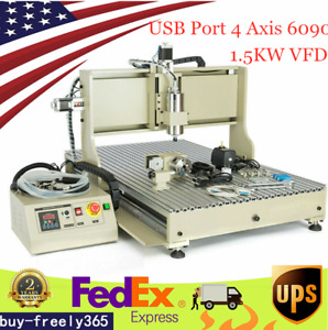 Usb 4 Axis 6090 Cnc Router Engraver Engraving Milling Drill Machine 1 5kw Vfd