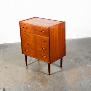 Mid Century Danish Modern Vanity Chest Dresser Teak Mirror Drawers Denmark Small