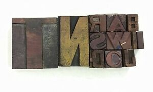 Letterpress Letter Wood Type Printers Block lot Of 12 Typography eb 159