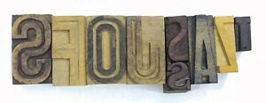 Letterpress Letter Wood Type Printers Block lot Of 9 Typography eb 152