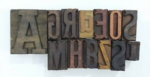 Letterpress Letter Wood Type Printers Block lot Of 13 Typography eb 151