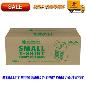 Member s Mark Small T shirt Carry out Bags 2000 Ct With thank You Message
