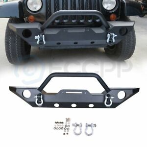 Steel Front Bumper For Jeep Wrangler Jk 07 18 Black Textured Hard Winch Guard