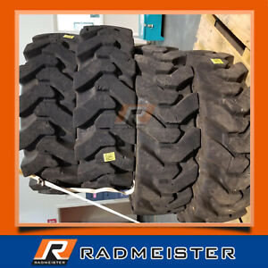 12x16 5 Solid Skid Steer Tires 4x W rims Bobcat A220 A300 A770 S740 S750 S770