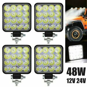 4pcs Pods Led Work Light Spot Lights For Truck Off Road Tractor 12v 24v Square