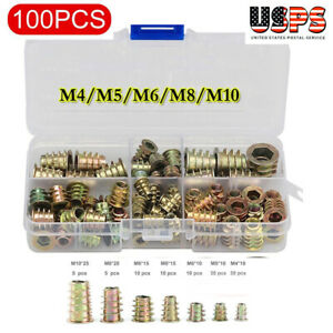 100pack M4 5 6 8 10 Threaded Hex Drive Insert Fixing Wood Screw Inserts Nuts Us
