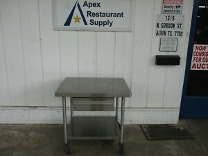 All Stainless Steel Table With Drawer On Casters 38x30x36 5122