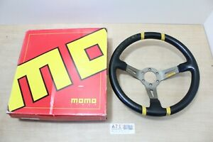 Momo Drifting Black Yellow Leather Steering Wheel 350mm 35cm Made In Italy
