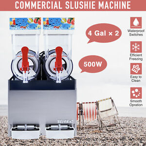 Commercial Slushie Maker Frozen Drink And Beverage Machine 2 X 4 Gal Pc Tanks