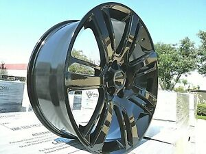 24 Escalade Tires Wheels Rims Gloss Black All Season Fits Yukon Denali Sierra