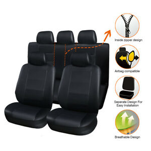 11pcs Leather Universal Car Seat Covers Protector For Honda Accord Civic Black