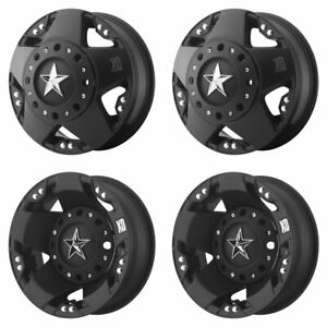 4x Xd775 M Blk F R Dually Wheels 17 Blk Spiked Lugs For Ford F350 88 98