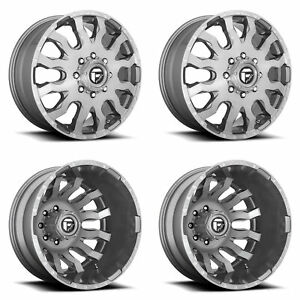 4x D693 Gun Metal F R Dually Wheels 20 Chr Spline Lugs For Chevy Silverado 3500