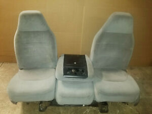 88 96 Ford F150 F250 F350 Bronco Front Gray Manual Seats Console Jump Seat Oem