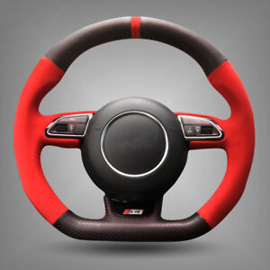 Black Leather Red Suede Car Steering Wheel Cover For Audi Rs4 Rs5 S5 2012 2016