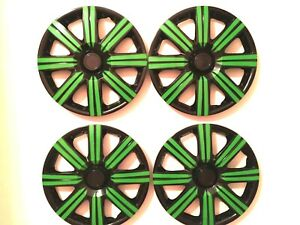 15 Inch Wheel Cover Hubcaps Universal Wheel Rim Cover 4 Pieces Set Black Green