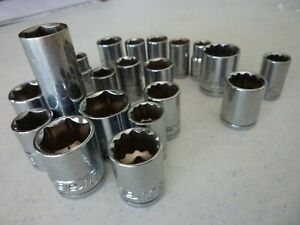 Misc Lot Of 21 Duralast Sockets Various Sizes Used Good Condition