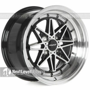 Circuit Cp24 15x8 4 100 25 Gloss Black Machined Wheels Fits Acura Integra Equip