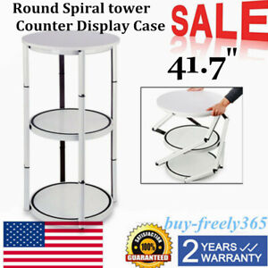 Portable 41 7 Round Aluminum Spiral Counter Display Case W Shelves Panels