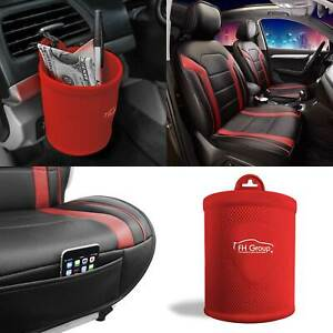 Faux Leather Seat Covers Cushion Pad Front Bucket Red W cup Holder