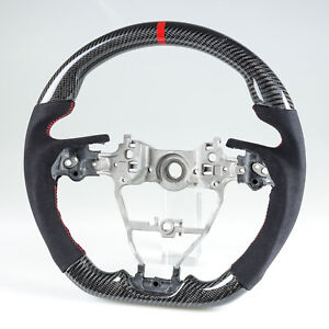 Carbon Fiber Flat Steering Wheel Suede For Toyota Camry Corolla Rav 4 Auris