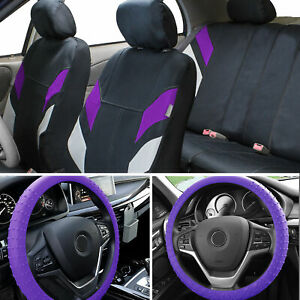 Neoprene Car Seat Covers For 4 Headrests Purple W Nibs Silicone Steering Cover