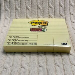 Post it Notes Super Sticky Lined Canary Yellow Variety Pack 12 Pads