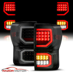 For Smoke Black 07 2013 Toyota Tundra Dual C Shape Bar Full Led Brake Taillight