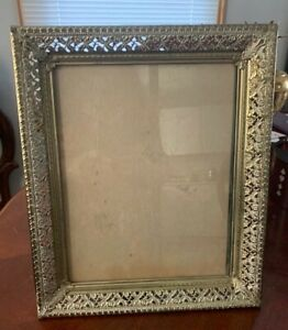 Vintage Metal Picture Photo Frame Gold Ornate 12 X 10 Open Sp Is 10 X 8