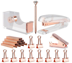 Rose Gold Desk Accessory Kit Set Stapler Remover Tape Dispenser Diamond Ball Pen
