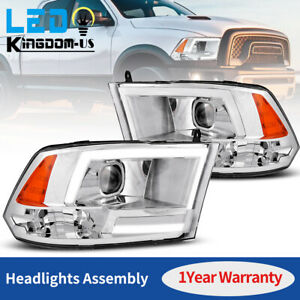 For 2009 2018 Dodge Ram 1500 2500 3500 Chrome Led Drl Bar Projector Headlights