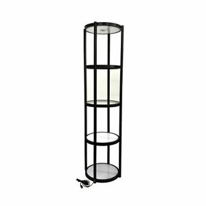 Us black 81 Round Portable Aluminum Spiral Tower Display Case With Shelves