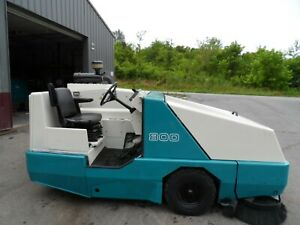 Tennant 800 Sweeper L p Low Hrs Totally Serviced Ford Eng Overhead Guard Add