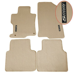 For 08 12 Honda Accord Beige Nylon Floor Mats Front Rear 4pc Carpet W Spoon