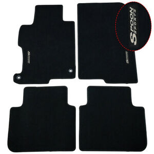 For 13 17 Honda Accord Front Rear Black Nylon Floor Mat Non Slip Carpets W Spoon