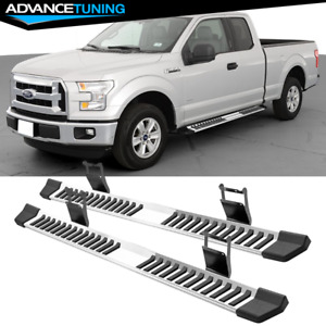 Fits 15 20 Ford F150 Super Cab Steel Running Boards Side Step Bar Silver