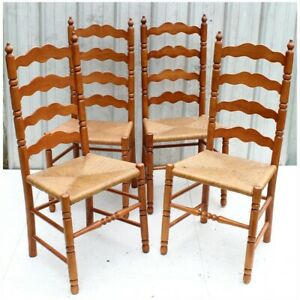 4 Antique Vintage 1950 S Ladderback Chairs With Rush Seats