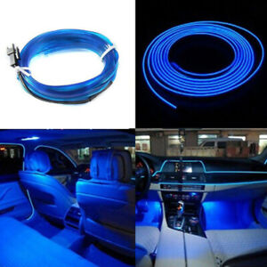 Blue 6 5ft Led Car Interior Accessories Atmosphere Wire Strip Lights Lamp Decor