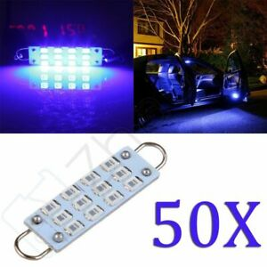 50x Super Blue Lights Dome Map Interior Led Rigid Loop Lamps 44mm 12 2835smd 12v