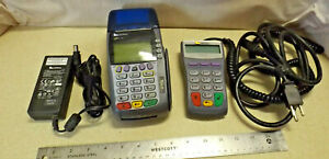 Verifone Omni 3750 Credit Card Terminal Chip Reader Process Machine Power Cables