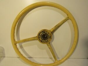 Vintage Rat Rod Steering Wheel Rare Bus Or Tractor 1 Diameter Shaft Ivory Color