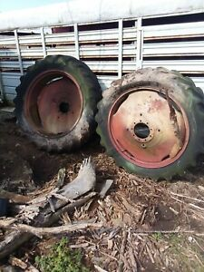 15 5 X 38 Tractor Dual Tire Rims Pressed Steel Rims Tires No Good For 9 Bolt Hub