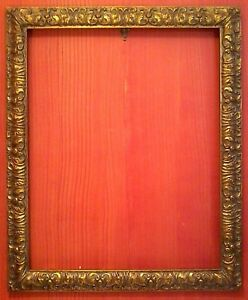 24 X 30 Standard Antiqued Gold Leaf Picture Frame Carved All Wood 3 Wide Nib
