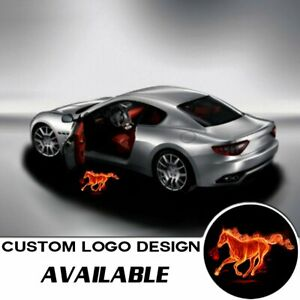 2x Logo Fire Horse Laser Projector Car Door Step Led Welcome Ghost Shadow Light