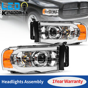For 2002 2005 Dodge Ram 1500 2500 3500 Truck Led Drl Projector Headlights Lamps