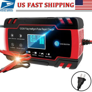 Car Battery Charger 12 24v 8a Touch Screen Pulse Repair Fast Power Charging Lcd