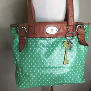 Fossil Key Per LadyBug Shopper Tote Bag Sea Green Mint Leather 2 Keys 1 Lock $25.50