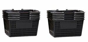 Shopping Basket Durable Black Plastic With Metal Handles Set Of 10